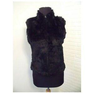 Bebe Black Rabbit Fur Vest - size Medium